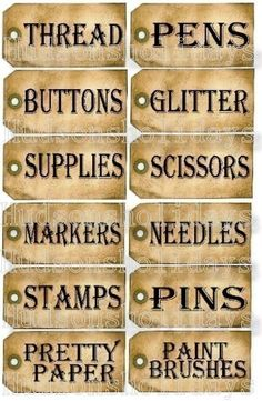 Tags for my craft room-could use manila tags and distress.
