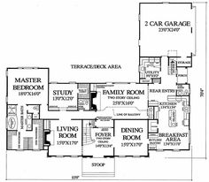 Colonial Style House Plan - 4 Beds 4 Baths 4204 Sq/Ft Plan #137-112 Floor Plan - Main Floor Plan - Houseplans.com