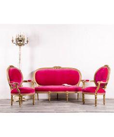 Conjunto De Sofá Y Sillones Antiguos Luis XVI #sillonbarato #mueblesbaratos #mueblesrebajados #liquidacion #sale #muebles #sofa #sofarosa #sofabarato Luis Xvi, Lounge, Couch, Pink, Furniture, Home Decor, Solid Wood, Vintage Armchair, Chair