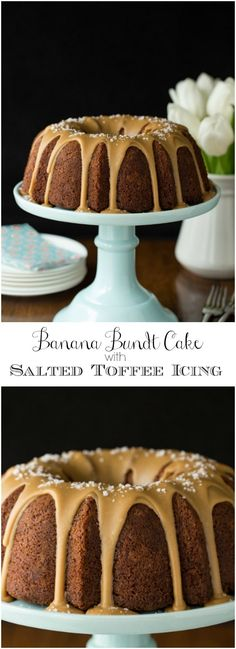 Banana Pound Cake with Salted Toffee Icing may be the most delicious, easy banana cake you'll ever make! And with Salted Toffee Icing, it's over the top! Toffee, Banana Pound Cakes, Banana Bread, Delicious Desserts, Dessert Recipes, Cupcake Recipes, Muffins, Pound Cake Recipes, Banana Recipes