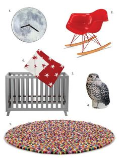 Whoever gets this nursery is one cool customer, rockin' night time with black and white decor and bright pops of primary color. This design comes in at $2,991. Click below to see resources, along with a much less expensive version.