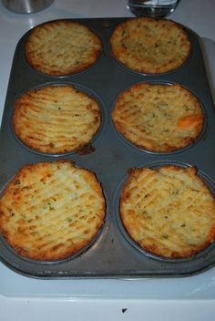 Mash potatoes plain with butter or you can add yummy ingredients like cooked bacon, cheese, parsley, green onion etc. Stuff in to a greased muffin tin, run a fork along the top and brush with melted butter or olive oil. Bake at 375 degrees or until tops are crispy and golden.