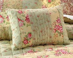 SHABBY PINK SAGE ROSES BREAKFAST BED PILLOW PILLOW 16 X12 SWEET CHIC