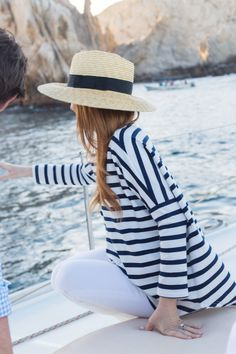 An unexpected adventure: sunset sailing in cabo Nautical Outfits, Nautical Fashion, Preppy Outfits, Preppy Style, My Style, French Style, Boat Fashion, Summer Fashion Outfits, Fashion Fashion