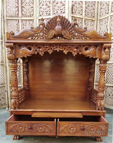 Explore home temple Design and Get amazing ideas of Teak wooden pooja temple by Aarsun. there is beautiful traditional design done by skilled artisans. Wooden Temple For Home, Temple Design For Home, Pooja Room Door Design, Home Room Design, House Design, Temple Room, Home Temple, Mandir Decoration, Front Door Design Wood