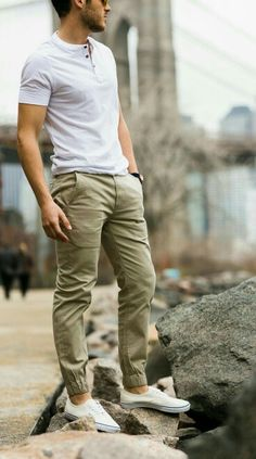 white henley + shoes w/ army colour jogger chinos