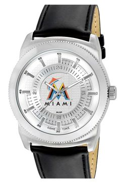 Men's Game Time Watches 'MLB Vintage - Miami Marlins' Faux Leather Strap Watch