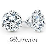 Platinum 3 Prong Round Martini Set Cubic Zirconia Earring Studs
