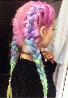 rainbow hair | pastel | ombre | cotton candy | unicorns | pink | braid | pigtails | fishtails | dyes | hairstyles | beautiful