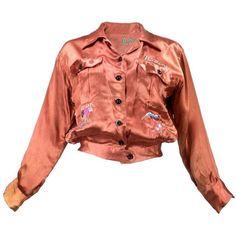 Preowned 40s Pumpkin Colored World War 2 Era Satin Souvenir Jacket ($495) ❤ liked on Polyvore featuring outerwear, jackets, orange, light weight jacket, lightweight jacket, red satin jacket, embroidered jacket and satin jacket