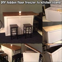 Kitchen Island floor freezer. This is a fun DIY project I started. I had a huge floor freezer as well as I needed a new kitchen table or kitchen island. so I decided to combine the two, save some space and have a fun new project. This is what came out. I Will post a tutorial on how to do this if people find they want to as well. Enjoy: