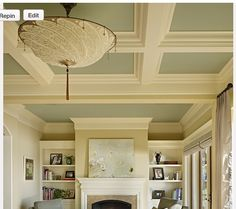 I love, love, love coffered ceilings, don't you? I would love to put a coffered ceiling in my living room, bre. Home Upgrades, Colored Ceiling, Bedroom Ceiling, Bedroom Colors, My Living Room, Ceiling Design, Home Projects, Family Room, House Plans
