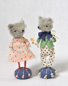 Son & Daughter Bears by Jennifer Murphy. Mohair head & body, Vintage chenille arms & legs, Wool pin cushion base, Glass eyes, Jointed head, Stuffed with excelsior, Cotton & silk clothing, Lightly Aged