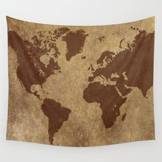 Classic World Map Wall Tapestry Wall Hanging World Map by hhprint