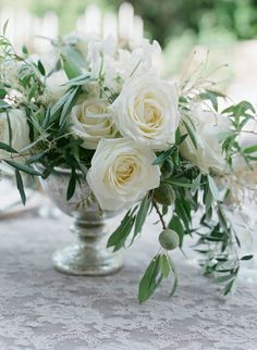 simple olive branch and white roses centerpiece Olive Wedding, Greek Wedding, Floral Wedding, Wedding Flowers, Our Wedding, Floral Centerpieces, Wedding Centerpieces, Floral Arrangements, Wedding Table Decorations