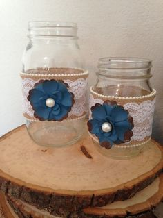 Burlap and Lace Mason Jar with Blue Metal by OurLittleBlueHouse