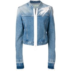 Off-White embellished denim jacket ($1,054) ❤ liked on Polyvore featuring outerwear, jackets, blue, blue jackets, american jacket, blue jean jacket, blue denim jacket and short jacket