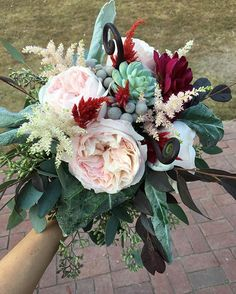 Blush with a hint of burgundy for a fall wedding. Garden roses, seeded eucalyptus, celosia and more.