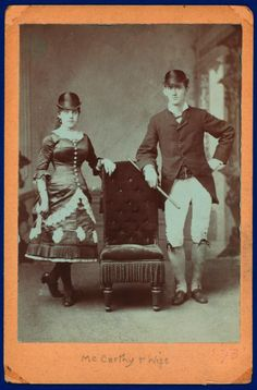 McCarthy and Wife. Champion Irish jig dancers posed in Irish dress,1873