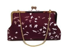 Hey, I found this really awesome Etsy listing at https://www.etsy.com/listing/222961314/burgundy-bird-pattern-gold-metal-frame