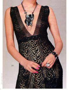 Crochet gold: black lace dress! Free Crochet Pattern