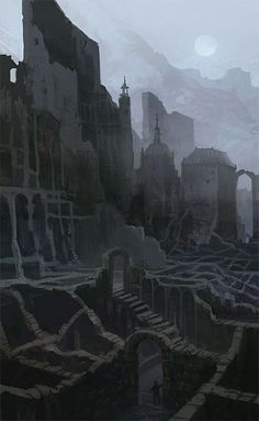 26 trendy ideas for concept art environment ruins cities Fantasy City, Fantasy Places, Fantasy World, Dark Fantasy, Fantasy Concept Art, Fantasy Artwork, Fantasy Landscape, Landscape Art, Dungeons And Dragons