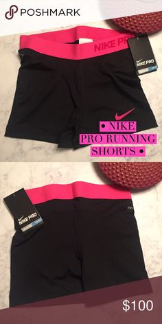 • Nike pro running shorts • One pair of Nike running shorts in black with pink waistband Nike Pants Track Pants & Joggers