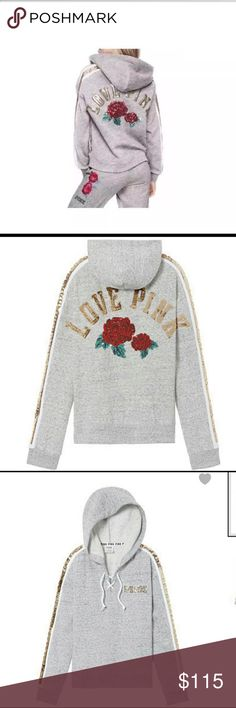 🆕VS PINK LIMITED EDITION Rose Bling Hooded Jacket Brand new with tags!! Lace Up, Limited Edition, beautiful bling hooded jacket, Grey with Red Roses.  Sold out quickly in stores and online. PINK Victoria's Secret Jackets & Coats