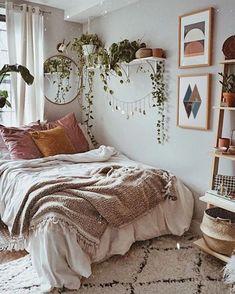Room Ideas Bedroom, Home Decor Bedroom, Bedroom Art, Bedroom Inspo, Bohemian Bedroom Design, Bedroom Ideas For Small Rooms, Nordic Bedroom, Bohemian Bedroom Decor, Bohemian Style Bedrooms