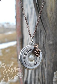 Shotgun Shell Necklace with Pine Cone Charm by madewlovedesigns, $29.00