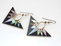 Art Deco Style Ladies Alpaca Mexico Silver, Abalone and Black Enamel Triangular Drop Earrings FREE POSTAGE by GloryBeVintageWares on Etsy