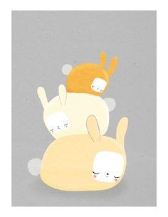 bunnies nursery art. stack of three rabbits in orange and cream on gray - 8.5 x 11 art print for baby, children, kids room. $20.00, via Etsy.