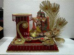 golden peacock feathers radha krishna platter