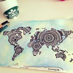 Awesome mandala world map drawing #art @tattoos_of_insta