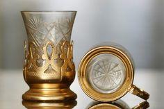 "SET OF VINTAGE TEA GLASS HOLDERS ""PODSKANNIK"" 6pcs, original cut glass, marked. Made in Russia in 1960s, 80 EUR Glass Holders, Antiques For Sale, Vintage Tea, Cut Glass, 1960s, Russia, Tableware, Dinnerware, Tablewares"