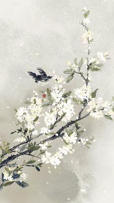 Wite is flowers Chinese Artwork, Chinese Painting, Art Asiatique, Bild Tattoos, Art Japonais, Foto Art, Anime Scenery, Landscape Art, Asian Art