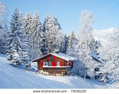 Winter cabin in the Swiss Alps / For unique, hands-on activity ideas for HEIDI by Johanna Spyri, visit  http://www.litwitsworkshops.com/free-resources/heidi/  LitWits Kits make literature real, relevant and fun for kids – so they want to read more!