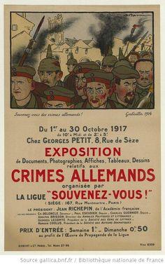 Souvenez-vous des crimes allemands. Exposition du 1er au 30 octobre 1917 : [affiche] / A. Barrère - 1