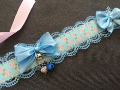 Blue & Pink Floral Bell Kitten Play Rose BDSM by KittenEnchantment