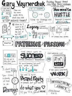 The team at the Knowledge Distillery are having some fun with sketchnotes, starting with this one from a 2008 talk by Gary Vaynerchuk at Web . Check out their feed for more sketchnotes and visual thinking work. Keep on rockin' the sketchnotes guys! Gary Vaynerchuk, Marca Personal, Personal Branding, Inspirational Quotes Pictures, Motivational Quotes, Social Media Landscape, Gary Vee, Sketch Notes, Self Improvement