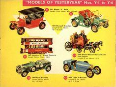 Matchbox Lesney 1965 catalog Models of Yesteryear - Y1 1911 Model T Ford, Y2 1911 Renault 2-Seater, Y3 1907 London E Class Tramcar, Y4 Shand-Mason Horse-Drawn Fire Engine, Y5 1929 4 1/2 (S) Bentley, and Y6 Type 35 Bugatti