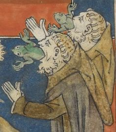 False prophets (Revelation 16, 13) 'Queen Mary Apocalypse', London 14th century. British Library. In medieval Europe the frog was a symbol of the devil due to the Catholic church associating the frog as one of the animals witches use as a familiar.