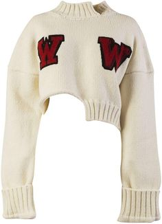 Embroidered Jumper from Off-White: White Embroidered Jumper with cropped length, embroidery detailing on front, long sleeves, wide cuffs, ribbed cuffs and hem … Cropped White Shirt, Crop Shirt, Cropped Sweater, White Jumper, Sweater Shirt, Stage Outfits, Mode Outfits, Fashion Outfits, Long Sleeve Crop Top