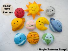 Felt Patterns, Stuffed Toys Patterns, Planet Mobile, Diy Craft Projects, Diy Crafts, Felt Projects, Solar System Mobile, Nursery Patterns, How To Make Toys