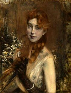 Giovanni Boldini - Treccia bionda (Blond braid), 1891 c., Milano, Galleria d'Arte Moderna, oil on canvas, cm 65x50