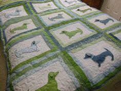 Custom Applique Dachshund Dog Quilt by bluebirdgardens on Etsy, $349.00