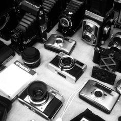 Camera stall at Mauerpark Flea Market, Berlin