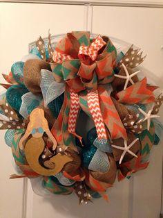 Deco mesh wreath with mermaid