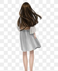 White Skirt Girl Girl Back View Girl Standing In The Wind Long Haired Girl Pure Girl Qingchun Miss Sister Back Png Transparent Clipart Image And Psd File For Long Hair Girl Girl Clipart Orange Long Dresses