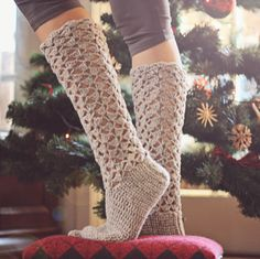 Crochet PATTERN for socks (pdf file) - Christmas Morning Socks
